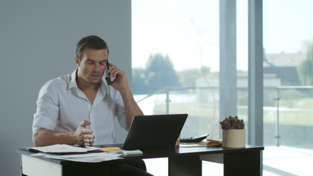 Business man working at laptop computer. Concentrated man talking mobile phone.