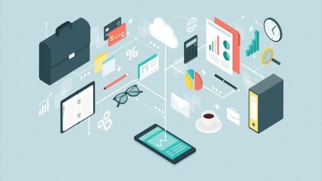 business management-appen på en smartphone - accounting bildbanksvideor och videomaterial från bakom kulisserna