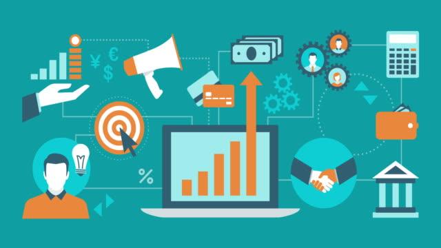 vidéos et rushes de concepts commerciaux, marketing et finance sur un réseau avec l'ordinateur portable au centre - marketing
