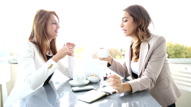 Business Meeting At The Cafè - Two Women video