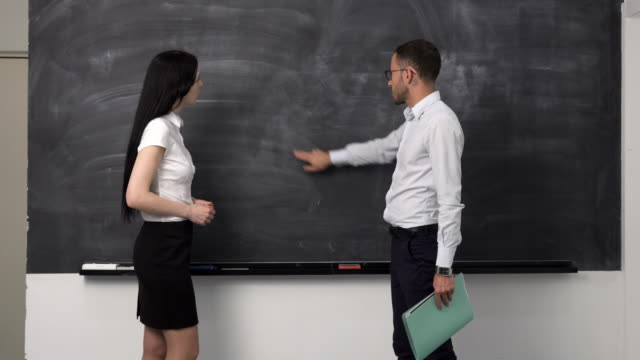 Business meeting, clean blackboard video