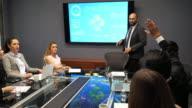 istock Business meeting - Latino mature businessman having presentation on board meeting 1163932188