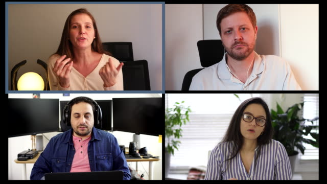 stockvideo's en b-roll-footage met zakelijke bijeenkomst op videoconferentie - corona scherm