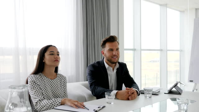 business meeting with secretary and boss in boardroom, woman candidate in modern office on interview, female handshake video