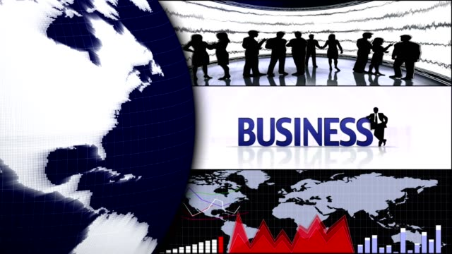 Business Montage Animation, Background, Rendering, Loop