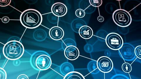vidéos et rushes de icônes de réseau entreprise battant, briller, bleu - en rang