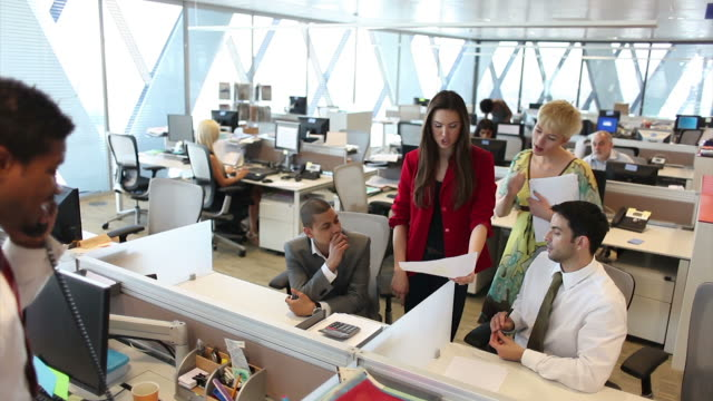 Business office meeting in large building  medium group of people stock videos & royalty-free footage