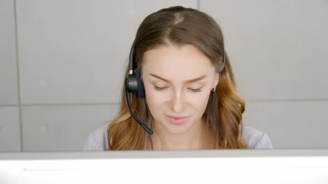 Business operator team, Portrait close up face woman caucasian operator smile worker accompanied talking customer support service call center in office