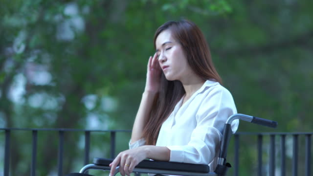 business patient woman on wheelchair , feel depressed