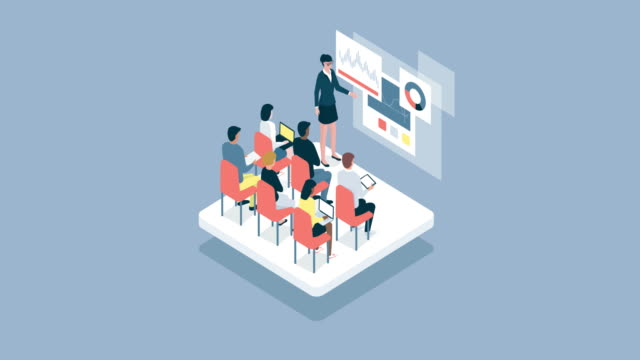 Business people and academic students attending a seminar Business people and academic students attending a seminar, a woman is talking and pointing to a virtual whiteboard with charts workshop stock videos & royalty-free footage
