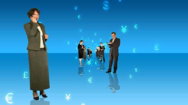 business people and currency signs