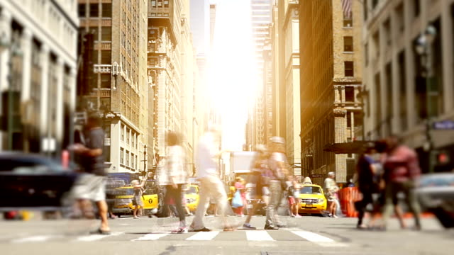 Business People and Tourists Walking in the Streets of New York. Traffic, Crossroad, Crosswalk Large Ammount of People in the Urban Metropolis New York. free stock without watermark stock videos & royalty-free footage
