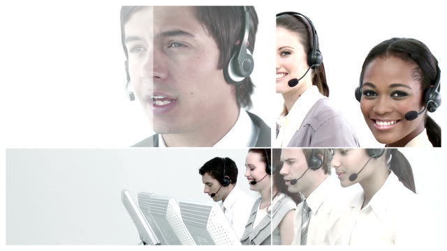 business personen am arbeitsplatz - callcenter stock-videos und b-roll-filmmaterial