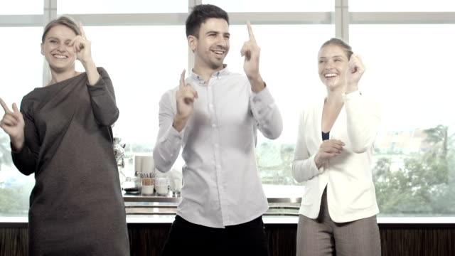 Business People Dancing in Office video