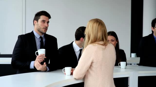 Business people on coffee break video