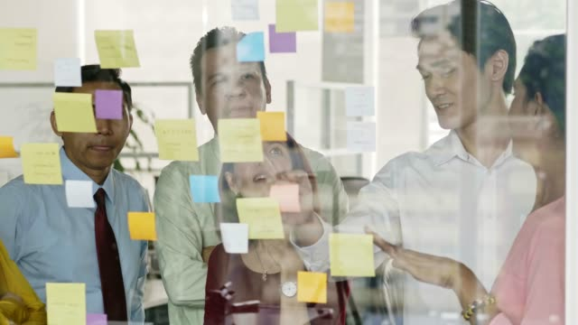 business people planning over adhesive notes - post it video stock e b–roll