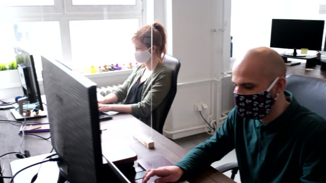 business people return back to work after pandemic lockdown - businessman covid mask video stock e b–roll