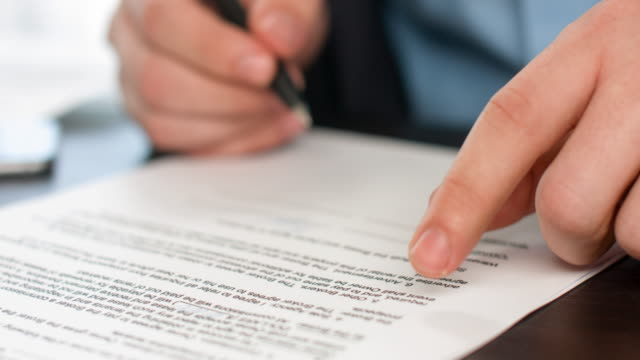 business people signing sales agreement contract. - firma video stock e b–roll