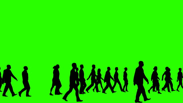 Business people silhouette crowd walking, Green Screen Chromakey