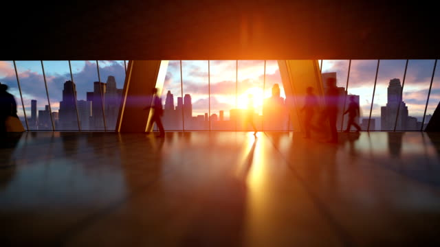 business people silhouettes walking commuter, rear view city skyline at sunset - business people stock videos & royalty-free footage