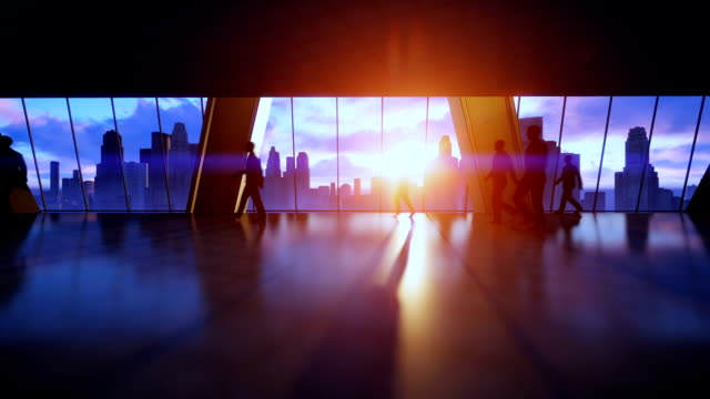 business people silhouettes walking commuter, rear view city skyline sunset - pedone ruolo dell'uomo video stock e b–roll