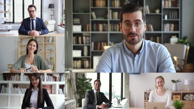 i̇ş adamları personel takım video konferans, kolaj ekran görünümü - virtual meeting stok videoları ve detay görüntü çekimi
