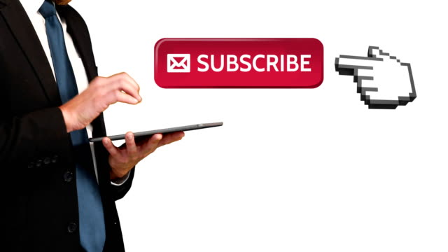 Business people subscribing for social media 4k