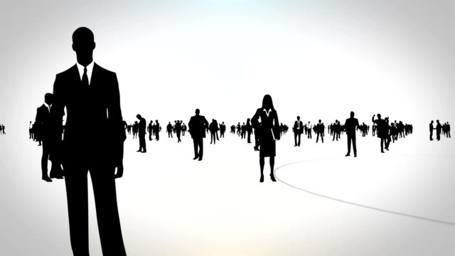 Business People Camera moving through silhouettes of business people in various poses. contest stock videos & royalty-free footage