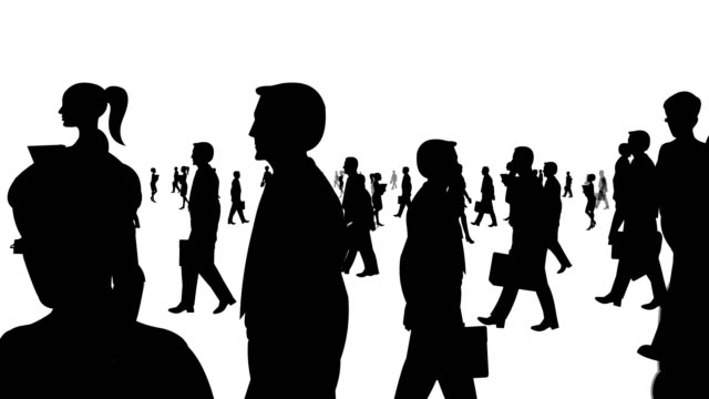Business People Walking Silhouette video