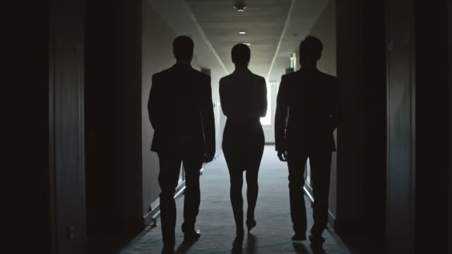 Business People Walking through Corridor in the Hotel Follow shot of rear view of two businessmen and businesswoman walking through dark corridor in hotel in slow motion silhouette people stock videos & royalty-free footage