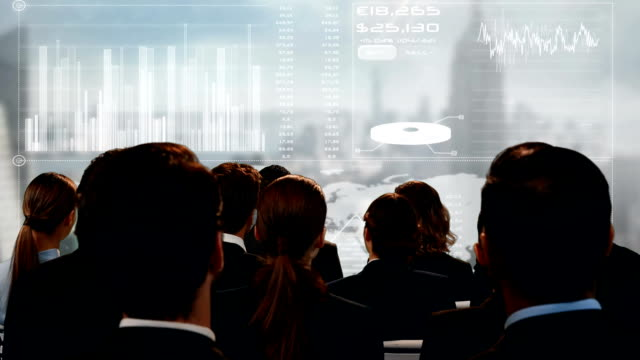 Business people watching a screen with a digital interface
