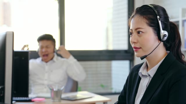 business people with headphones giving support
