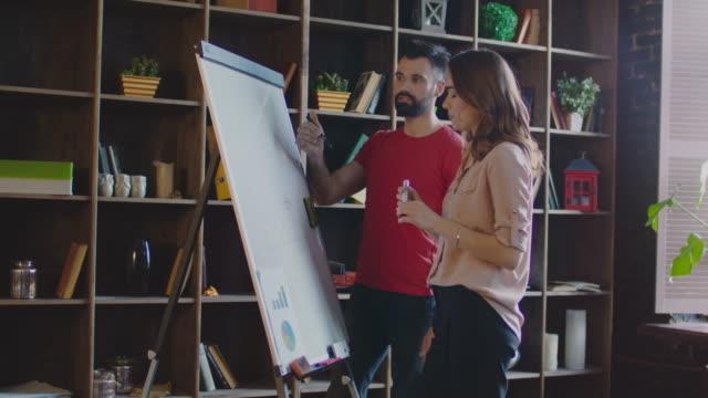 事務所のホワイト ボードにビジネス戦略を書くビジネス人々。ビジネス チーム - 板点の映像素材/bロール