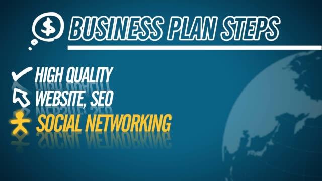 Business Plan Steps video illustration on blue in HD