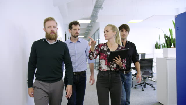 Business professionals walking together in new office corridor Young woman using a digital tablet showing the office to new three businessmen. Group of business professionals walking together in new office corridor. office cubicle stock videos & royalty-free footage