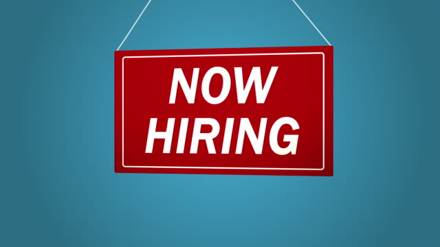 A business sign that says: Now Hiring. Animated board falls and sways. Blue background. video