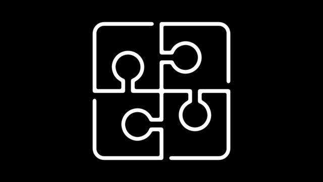 stockvideo's en b-roll-footage met zakelijke oplossing lijn pictogram animatie met alpha - legpuzzel