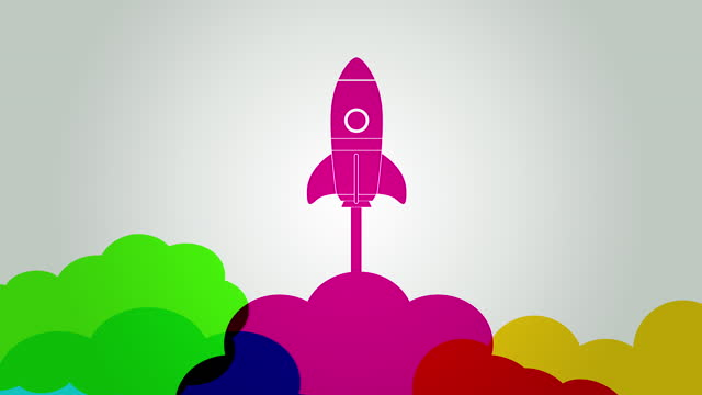 Business Startup Rocket Launch Colourful silhouettes of rockets to symbolise new business startup launch. start up, business, company, entrepreneur, new, new business, Launch, Rocket, Spaceship, business symbols stock videos & royalty-free footage
