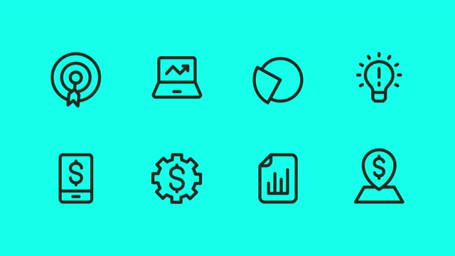 business strategy icons - vector animate - icons стоковые видео и кадры b-roll