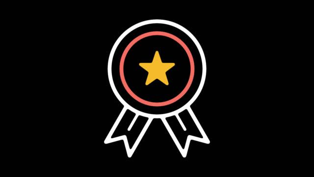 vídeos y material grabado en eventos de stock de animación de icono de línea negocio éxito con alfa - eventos de etiqueta