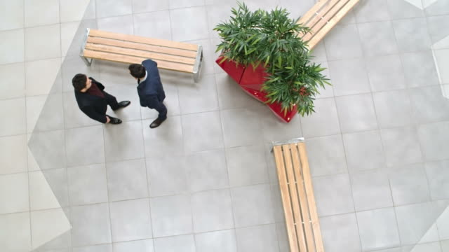 Business Talk in Lobby High angle view of two young businessmen talking in lobby of modern office building; slow motion shot on Sony NEX 700 tile stock videos & royalty-free footage