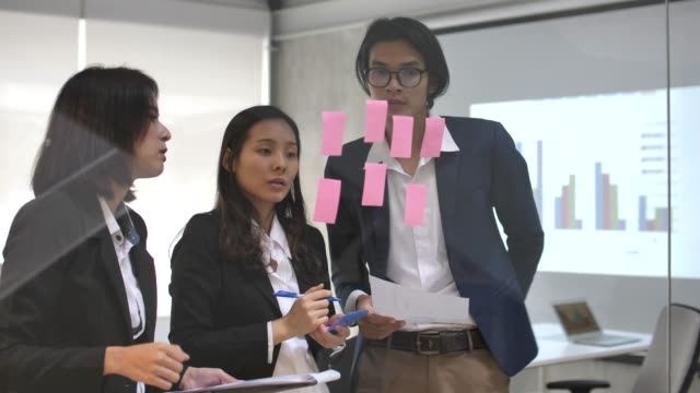 ビジネス プロジェクトのためのアイデアのビジネス チームのブレーンストーミング - ビジネスマン 日本人点の映像素材/bロール