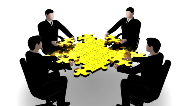 Business team building a puzzle video