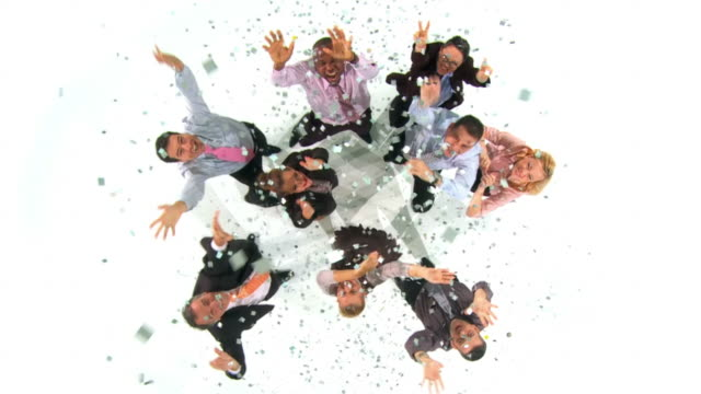 HD CRANE SLOW-MOTION: Business Team Celebrating