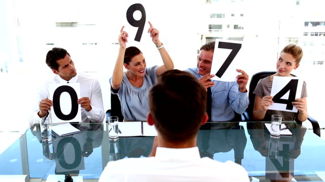 Business team giving grade to a businessman