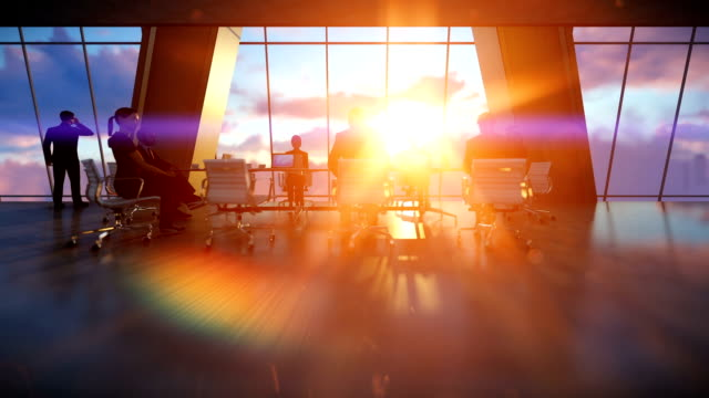 Business team in conference room, rear view sunset video