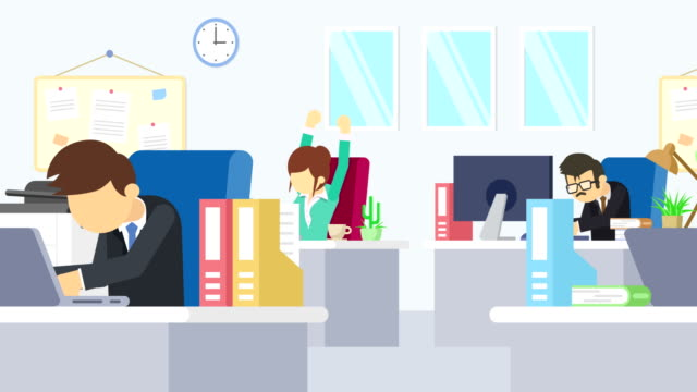 ビジネス チームが取り組んでいます。ビジネス コミュニケーションの概念。フラット スタイルの図をループします。 - 雇用と労働点の映像素材/bロール