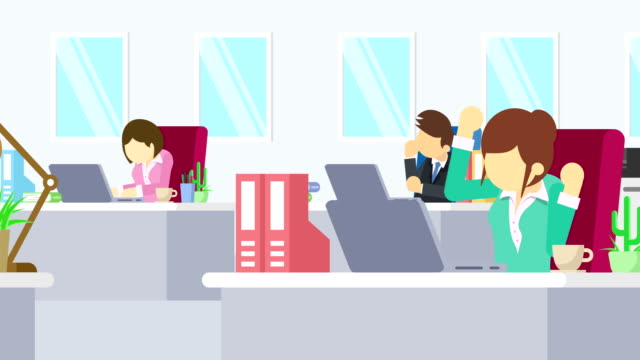 business team is working. business communication concept. loop illustration in flat style. - характеры стоковые видео и кадры b-roll