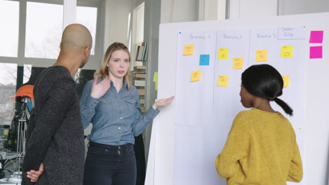 affärs team gör planer och projekt med fästisar - whiteboardtavla bildbanksvideor och videomaterial från bakom kulisserna