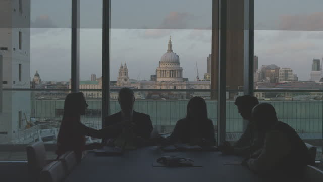 Business Team Silhouette in London Office video